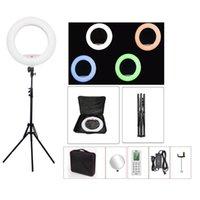 Yidoblo FC-480 RGB APP Control Ring Light LED Video Beauty Nail Skin Pography Movie Studio Lamp +tripod + Bag Flash Heads