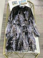 2021 Bohemian Print Long Dress Designer Long Sleeves Print Holiday Beach Prom Gown Milan Runway Vestidos De Festa 80304