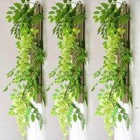 Fashion7FT 2 M flor cuerda artificial wisteria vid guirnalda plantas follaje al aire libre hogar arrastrando flores falso colgante decoración de pared