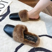 Slippers 2021 Fashion Square Toe Women Cow Leather Mules Hair Slip On Sling Backs Solid Color Dress Casual Shoes For