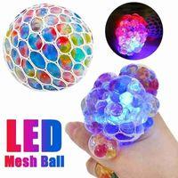 LED brillo de la bola de la uva del juguete del juguete de la malla de la malla antiestrés Squishy Squishy TPR DECOMPRESIÓN JUGUETES