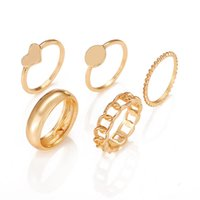 Vintage Gold Alloy Ring Sets For Women 5PCS Set Punk Wide Link Chain Fashion Irregular Geometric Heart Finger Rings