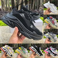 2021 Fashion Paris Triple-S piattaforma Uomo Donne Casual Scarpe Casual Triple Black Bianco Rosso Grigio Rosa BEIGE Verde Green Yellow Mens Sneakers US 6-12
