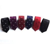 Corbata de cuello cráneo para hombres 6 colores Partido de Halloween Lazos delgados 6 cm 1200 Aguja versión estrecha del FESHOST FESTIVAL BOY