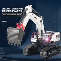 HuiNa 594 1/14 Alloy 2.4G RC Excavator Rotation Demolition Machine Remote Control Catcher Wood Grabber Climbing Engineering Car