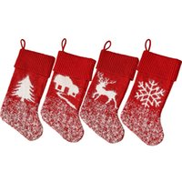 Knitted Wool Christmas Stockings 42cm*19cm Large Xmas Socks Red Fireplace Decorative Items