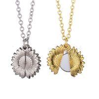 Сублимационные пустые подсолнечники кулон ожерелье теплопередача круглая партия украшения ожерелья DIY подарок с цепочкой GWB7233