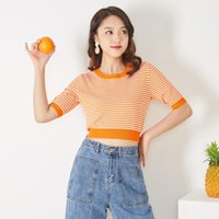 Spring Summer Women T-Shirt Tops Knit Elastic Fashion O Neck Short Sleeve Female Blouse Pullover T Shirt Women's Sweaters
