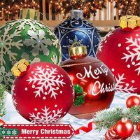 1 قطعة 60 سنتيمتر كرات عيد شجرة زينة في الهواء الطلق pvc نفخ لعب للمنزل هدية الكرة عيد الميلاد 210910