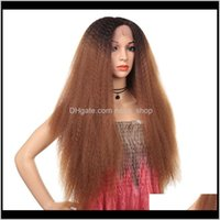 Products Drop Delivery 2021 32 Inches Kinky Straight Synthetic Lace Front Frontal Wigs Simulation Human Hair T Color Perruques De Cheveux Hum