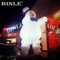 Airblown Halloween Decoration 4MH LED العملاقة نفخ البقاء puft marshmallow man / ghostbusters نموذج للإعلان