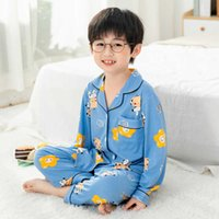 Autumn Children Pijama Suit Long Sleeve Cardigan Clothes Set Cartoon Kids Nightwear Boys Winter Christmas Homewear Girls Outfits G0930