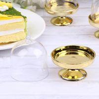 Gift Wrap 12pcs Transparent Candy Storage Boxes Creative Dessert Cupcake Holder Party Cake Tray (Golden Base)