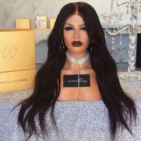 Top de seda pelucas de encaje completo peruano recto 5 * 4.5 Base de seda Seda sin glóvía Frente de encaje Pelucas de cabello humano con cabello natural
