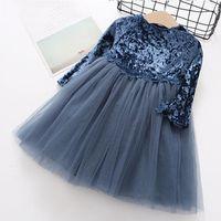 Девушка платья маленькие девочки весеннее платье 2021 малыш кружева лоскутное длинное рукаву детей принцесса одежда цветут конкурс платья вечером