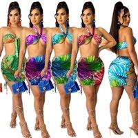 Mulheres modas vestuário verão o novo listagem digital imprimindo pescoço embrulhado direito lace up saia dois peças vestidos terno