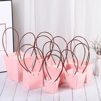 10 adet / takım PVC Hediye Kutusu Takı Ambalaj Taşınabilir Sepet Çiçekçi Kullanışlı Çiçek Çantaları Dikdörtgen Kağıt Kutuları Sarma Suppie