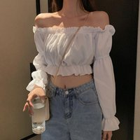 Women's Blouses & Shirts Women Top Sexy Blouse Off Shoulder Long Sleeve Solid Color White Shirt Puff Ruffle Tunic Crop Summer Tube
