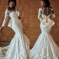 Plus Size African Mermaid Wedding Bridal Dresses With Back Bow Beading Long Sleeves Bridal Gowns Nigerian Wedding Dress Cheap