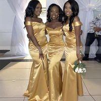2021 Gold Bridesmaid Dresses Mermaid Elegant Off the Shoulder Elastic Satin African Plus Size Floor Length Custom Made Maid of Honor Gown Country Wedding vestido