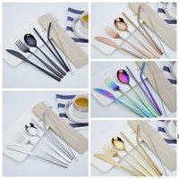 6 pçs / conjunto de cutelaria de aço inoxidável conjunto faca garfo colher palha com pano pacote de cozinha loukware kit de mesa de mesa de talheres DAHB6408