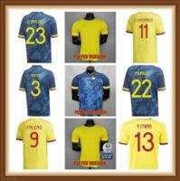 Oyuncu sürümü 2021 2022 Kolombiya Futbol Formaları 21 22 Kolombiya Erkekler Camiseta de Futbol James Falcao Cuadrad Valderrama Futbol Gömlek 5246