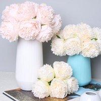 Декоративные цветы венки 5 шт. Искусственный пион шелк поддельные цветочные композиции свадьба свадебный букет дом дисплей вечеринка фестиваль декор whit