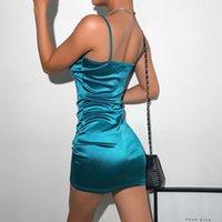 Dulzura Neon Saten Lace Up Yaz Elbise Kadın Bodycon Mini Vestidos Kolsuz Backless Zarif Parti Kıyafetler Seksi Clubwear