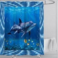 Душевые занавески Дельфин Милый океан животное синее море морской волна пейзаж ванной декор ткани висит занавес с крючками