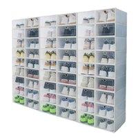 Clothing & Wardrobe Storage 6 Pcs set Transparent PP Plastic Clamshell Shoe Box Cabinet Drawer Type Folding Bins