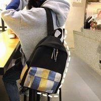Plecak Płótno Torba na ramię Koreańska Edition Campus Dziewczyny w kratkę Paski Proste Student Bookbag Plecaki Laptop