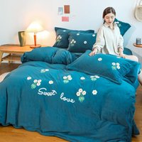 Bedding Sets Warm And Thickened Milk Velvet 4-piece Set Baby Towel Embroidered Bed Sheet Quilt Cover Flannel 3-piece