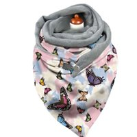 Women Winter Plush Lined Triangle Scarf With Clip Tie-Dye Paisley Butterfly Print Shawl Wrap Thermal Warm Blanket Poncho Scarves