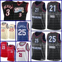 Philadelphia76er.Jersey Ben 25 Simmons Basketball Joel 21 Embiid Allen 3 Iverson Julius 6 Ernt Al 42 Horford Männer Jugend 2021 ASDA