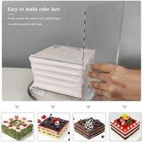 Ferramentas de pastelaria de cozimento 11 pcs acrílico redondo / quadrado conjunto de disco círculo placas de base de círculo com furo central pilar pente raspadores de pente haste cozinha para