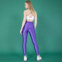 Leohex Seksi Saten Parlak Tayt Pantolon Glitter Çorap Parlak Japon Ayak Bileği Uzunlukta Pantolon Yüksek Bel Tayt Kadınlar