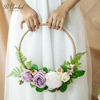 Wedding Flowers PEORCHID Purple Rose Flower Wreaths Garland Wall Hanging Decoration DIY Bride Hand Bridal Bouquet Peony