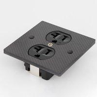 Smart Power Plugs Piece High Performance EU Double AC Receptacle Carbon Fiber Schuko Panel Socket 16A US Standard Wall Outlet