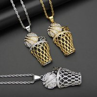 Pendant Necklaces Hip Hop Rock Rhinestones Paved Bling Iced Out Stainless Steel Number 23 Basketball Pendants For Men Rapper Jewelry