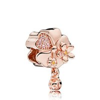 Fits Pandora Bracelets 20pc Rose Gold Flower Silver Charms Bead For Women Making Diy European Necklace Jewelry Accessorie
