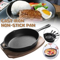 Pans 14 16 20 Cm Uncoated Non-Stick Cast Iron Frying Pan Skillet Seasoned With Wooden Tray Cookware Fryer Kitchen Appliance