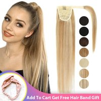 Synthetic Wigs Long Straight Clip In Ponytail Wrap Around Hair Heat Resistant Natural Hairpiece Headwear Fake