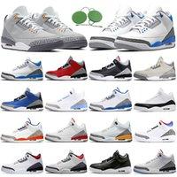 Air Giordan 3 3s Scarpe da basket Jumpman AJ3 Racer Blue Cool Grey Ruggine Rosa Katrina Tinker JTH Black Cement Street Sneakers Sneakers Mens Trainer