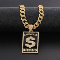 Pendant Necklaces Goth Dollar Sign Cash Money Records Iced Out Necklace Cuban Chain Hip Hop Jewlery Street Rapper Boyfriend Gift