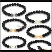 Charm Jewelrykimter Fitness Barbell Dumbbell Bracelet Natural Stone Bangle For Women Men Essential Oil Diffuser Jewelry Gym Yoga Bracelets B3