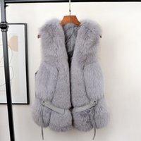 2021 Fashion Net Red Whole Winter Fur Waistcoat Vest Coat Real Sheepskin