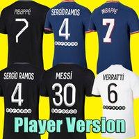 # 30 Messi Player Version 2021 2022 Fußball Jersey # 4 Srergio Ramos # 7 Mbappe Fußball Hemd Home Blue Verratti Kean Away White männer Erwachsene Fußballuniformen