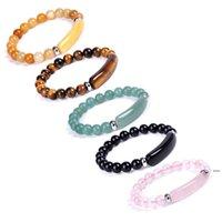 8mm Natural Stones Beaded Bracelets Tiger Eye Strands Healing Pink Crystal Precious Gemstone Fashion Women Mens Stretch Round Beads FWA5705
