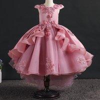 Yoliyolei ruffles dovetail festa meninas vestido 2-12 anos casamentos feriados feriados frock vestido de bola noite princesa flor menina vestidos menina