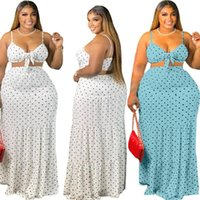 Plus Size Tracksuits 5XL Two Piece Set Women Summer Clothing Wholesale Sexy Sweet Bra And Maxi Skirt Dots Print Matching Suit Drop